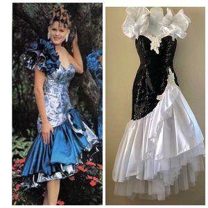 Vintage Black & White Prom Dress